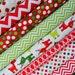 Christmas Fabric Bundle - Remix by Anne Kelle from Robert Kaufman - Red & Green Chevron, Lights, Reindeer - 100% cotton