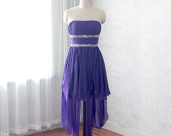 High-low prom dress, chiffon formal dress, purple homecoming dress