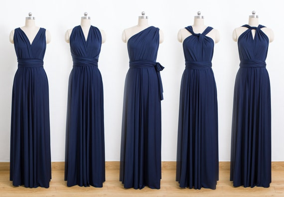 Navy Blue Maxi Infinity Dress Convertible Bridesmaid Dress