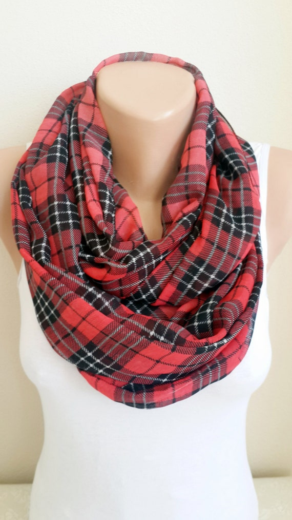 Plaid Red infinity Scarf Lightweight Soft Circle Scarf