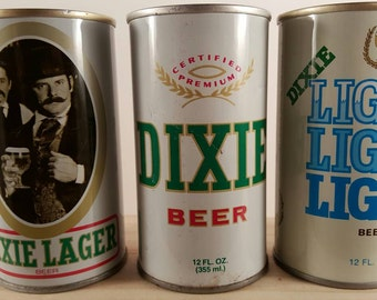Dixie Brewing Company 3 Collectible Beer Can Lot