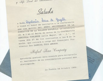 2 Vintage governmental letters with envelopes from SPAIN - P25