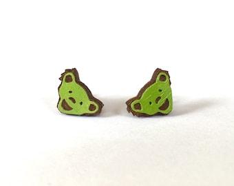 Grateful Dead Studs, Bear stud earrings, green stud earrings, green earrings, grateful dead bear earrings