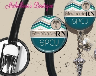 Personalized Badge Reel and Stethoscope ID Tag Set,Retractable Badge Holder,Monogram Badge Reels,Doctor Badge Reels, Nurse Badge Reels,RN
