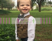 Ring Bearer Brown Tweed Herringbone Look Cotton Vest Infant Toddler Child Sizes thru Youth 10