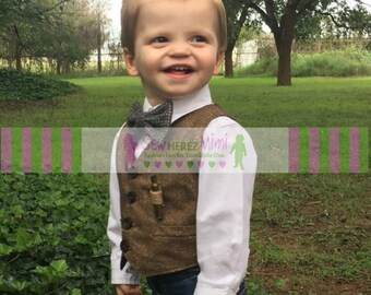 Ring Bearer Brown Tweed Herringbone Look Cotton Vest Infant Toddler Child Sizes thru Youth 10