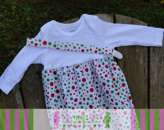 Christmas Red Green Dot 0-3 mos Layette Gown Coming Home Set with Paci Holder CLEARANCE