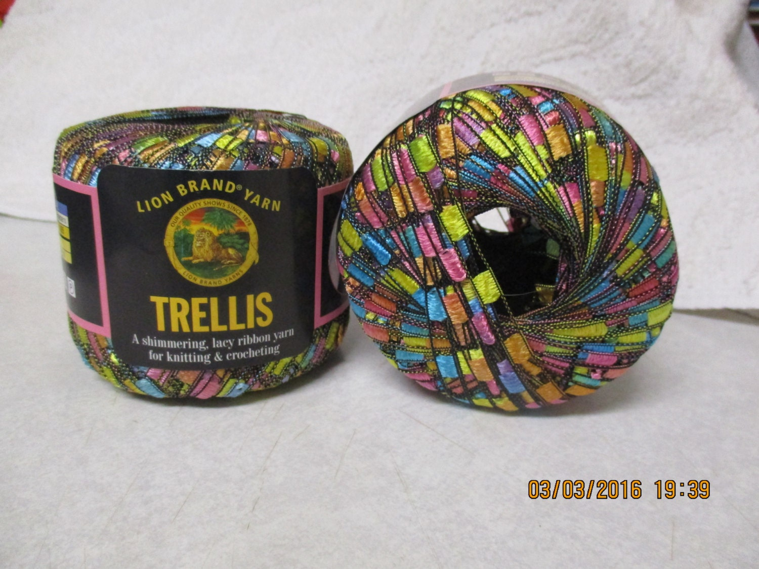 lion brand trellis ribbon ladder yarn pastel