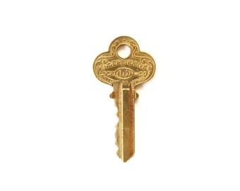 Vintage Independent Key . old key to my heart . vintage keys . old keys . flat key charm . brass key . house key  #112