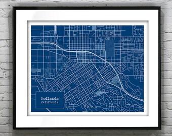 Redlands California Blueprint Map Poster Art Print Several Sizes Available