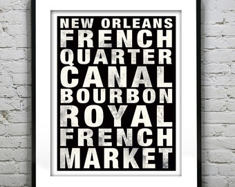 New Orleans Subway Poster Art Print Bourbon Street, Canal, French Quarter