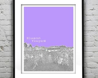 Bluemont Virginia Poster Art City Skyline Print VA Bluemont Vineyard
