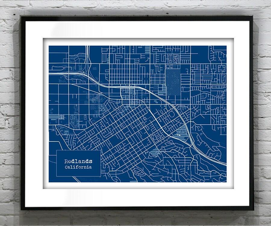 Redlands California Blueprint Map Poster Art Print Several