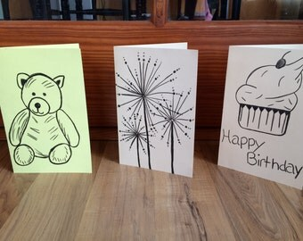 Set Of 3 Hand Drawn Greeting Cards