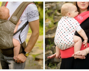 """Baby Carrier Double-sided / Ergonomic Sling / """"Graphic Leaves+Salmon Dots"""" Nap Bag by Bagy"""