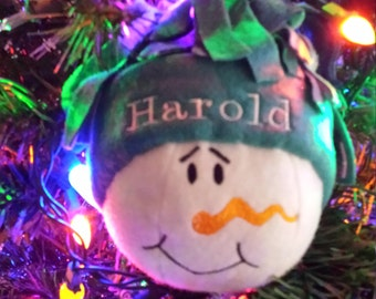 Personalized Snowman ornaments.