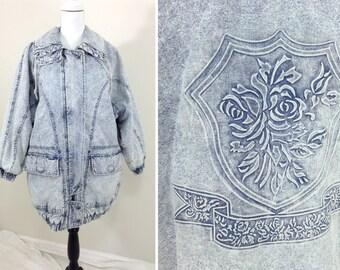 Vintage Stonewashed Denim Gitano Jacket with Embossed Detail
