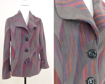 "Anthropologie ""Cidra"" Grey & Pink Woven Tweed Blazer"