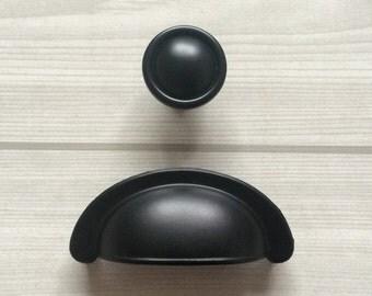"2 3/4"" Cup Handle Pull Dresser Knobs Pulls Drawer Knob Pulls Handles Knobs Rustic Black Retro Cabinet Pull Handle Lynns Hardware 2.75"" 70 mm"