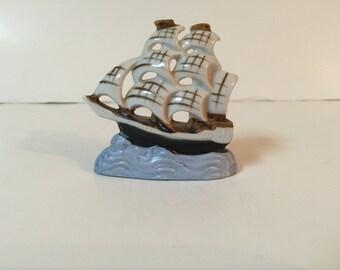 Vintage Miniature Clipper Ship Porcelain Japan