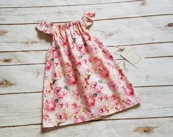 Size 6-12 Mos Floral Flutter Sleeve Dress Spring Dress Summer Dress Grow with me dress Everyday play dress playdress  beach beachware