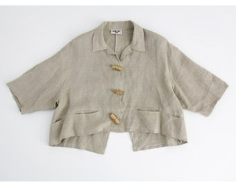 Vintage Jacket // French Slouchy Linen Neutral Jacket with Pockets