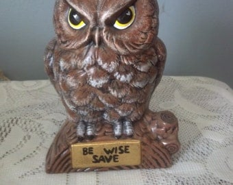 """Ceramic Owl Coin Bank """"Be Wise Save"""""""