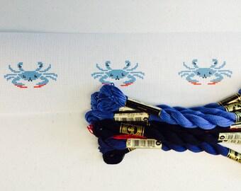 Blue Crabs Needlepoint Belt Canvas