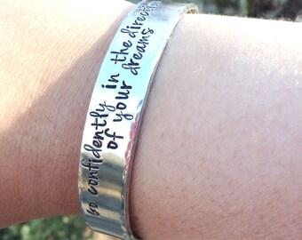 "Custom Cuff Bracelet, 1/2"" Width Hand Stamped Bracelet, Personalized Cuff Bracelet, Quote Jewelry, Custom Gift for Her, Aluminum Bracelet"