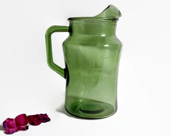 Vintage, Avocado, Green, Glass, Beverage, Water, Juice, Pitcher, Initial, H, Initialed, Personalized, Shabby, Retro, Handled