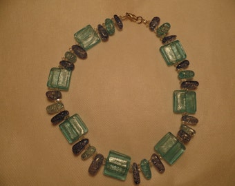 "16"" Blue Square Ice Necklace"