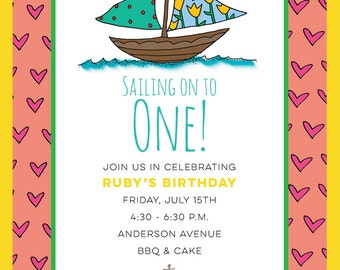 Sailing On To One Birthday Invitation