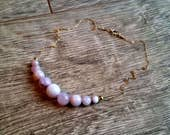 Love Connection- Gold Filled Graduated Pink Kunzite Bead Gemstone Necklace