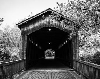 Black & White Photography - Covered Bridge - fine art print wall photo home decor outdoors shadows contrast monochrome michigan