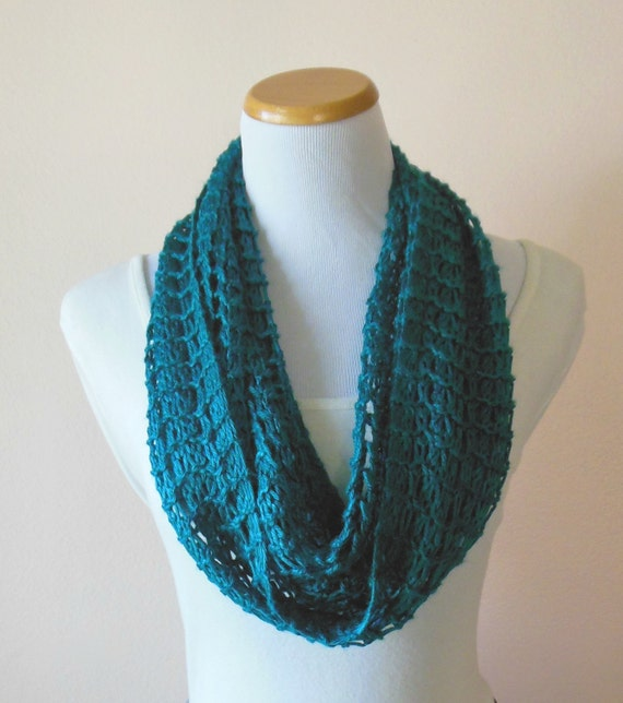 Teal Infinity Scarf Hand Knit Light Weight Lacy Open Weave