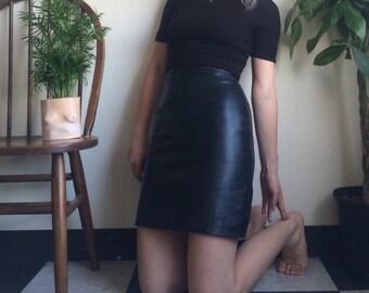 Skin Tight Leather Mini Skirt