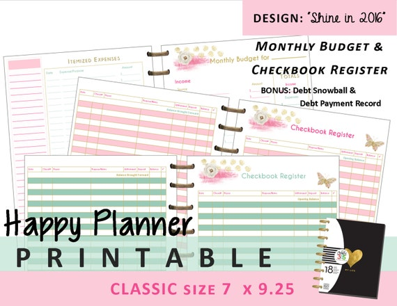 Terrible image with free happy planner budget printables