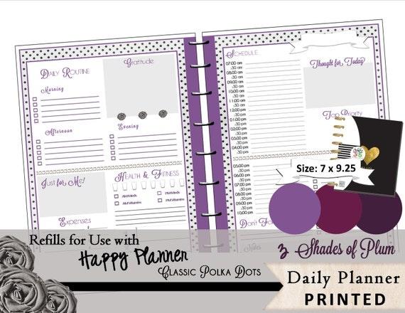 Happy Planner Calendar Refills : Happy planner daily refills printed plum polka dots