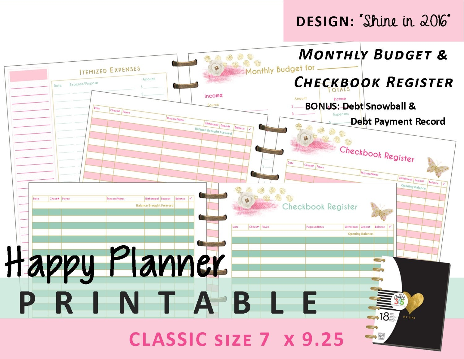 Happy Planner Monthly Budget and Checkbook Register Inserts
