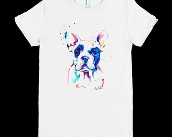 Women's Graphic Tee - Cotton Jersey T Shirt - Women's Tee Shirt - Colorful Frenchie Illustration -Ladies Screen Printed T-Shirt