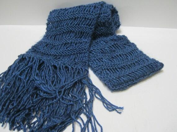 Knit Scarf Indigo Blue Light Weight Long Hand Knit Winter