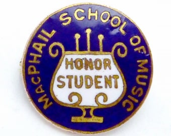 Vintage 1920s Gold Filled Enamel McPhail School of Music Honor Student Pin 22213
