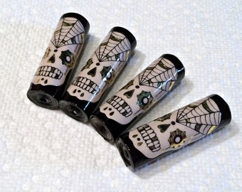 Black Skull Paper Beads  Artisan Handmade Beads for Pens and other Beadable Products