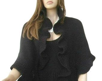 Black Knit Shawl, Black Wool Ruffle, Three Sides Ruffled Cute Shawl, Handknit, Express Delivery