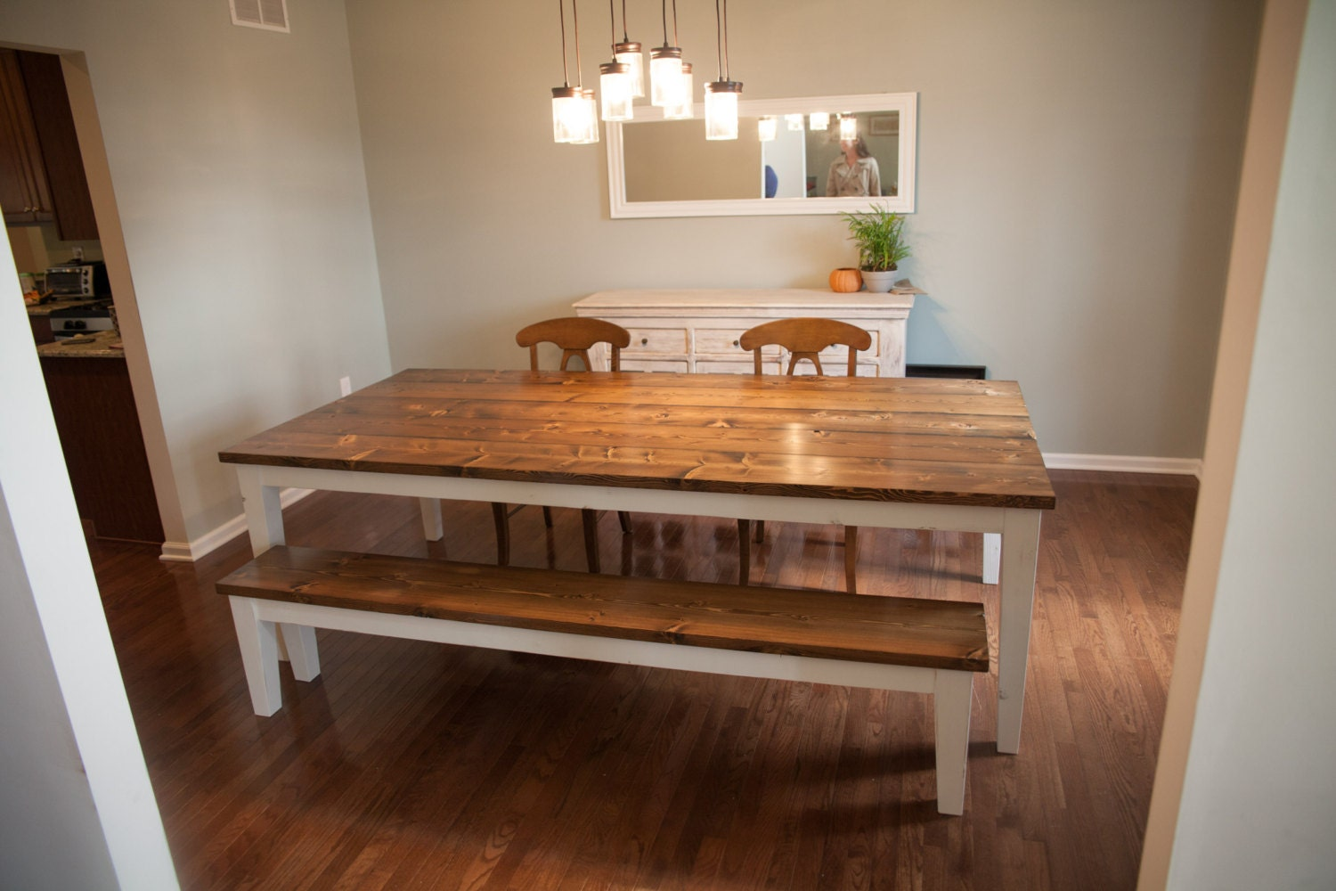 96 farmhouse table solid wood farmhouse dining table. Black Bedroom Furniture Sets. Home Design Ideas