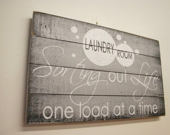 Laundry Room Sign Pallet Sign Wood Sign Sorting Our Life One Load At A Time Home