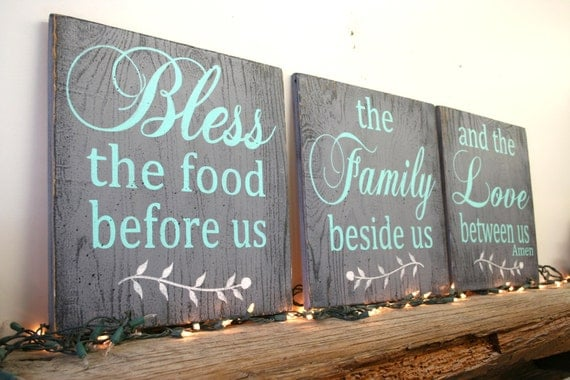 Bless The Food Before Us Wood Sign Dining Room Kitchen