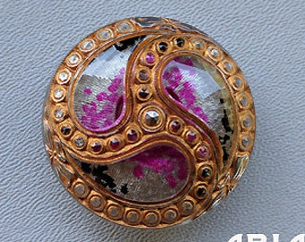 CZECH GLASS BUTTON: 36mm Handpainted Nouveau Paisley Swirl Czech Glass Button, Pendant, Cabochon (1)