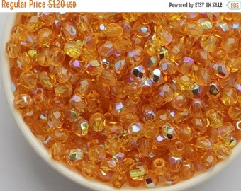 SALE -10% 3mm Rainbow Topaz AB (50psc) Czech Fire Polished Beads Round Glass Small Polish Faceted Amber