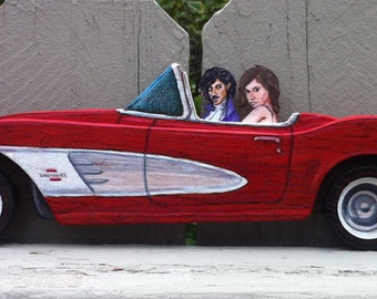 Little Red Corvette Prince dimensional wooden sculpture